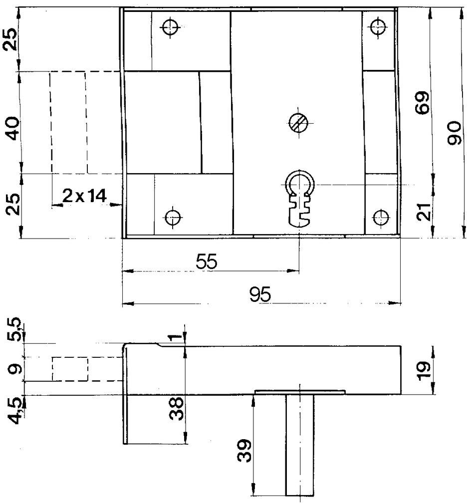 Serrures en applique pour portes de cave SCHÄNIS 2301