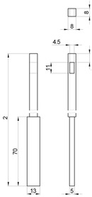 Bacchette per catenaccio d'incassare a filo, con leva MSL 1808