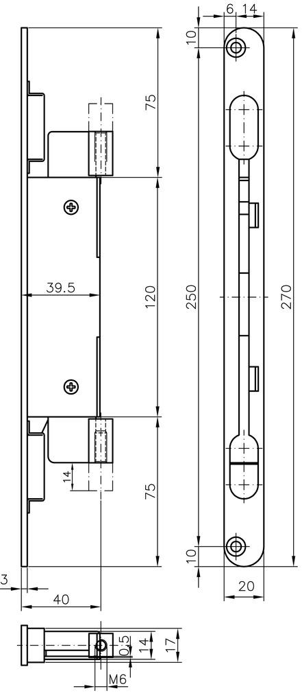 Targette à levier à entailler MSL 1807