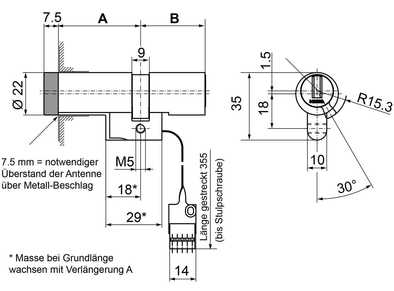 Doppelzylinder Kaba evolo 1545-K5/MRD/E300/BSZ Mechatronik Stulp