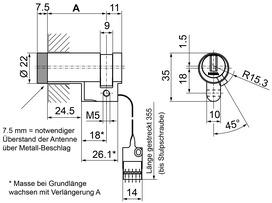 Halbzylinder Kaba evolo 1544-K5/MRD/E300 Mechatronik