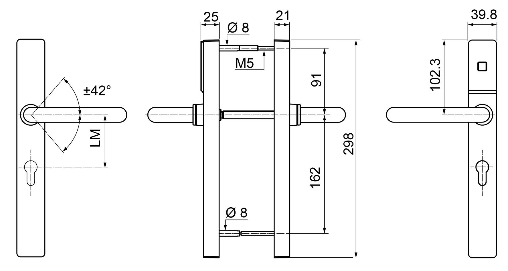 Ferrements électr. KABA c-lever pro 2631-K6, ES1, étroit