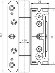 Cerniere da fresare per porte d'entrata SIMONSWERK BAKA Protect 4010 3D e 3D FD