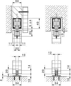 Ferrements pour portes coulissantes HAWA-Junior 80/B (mod.)