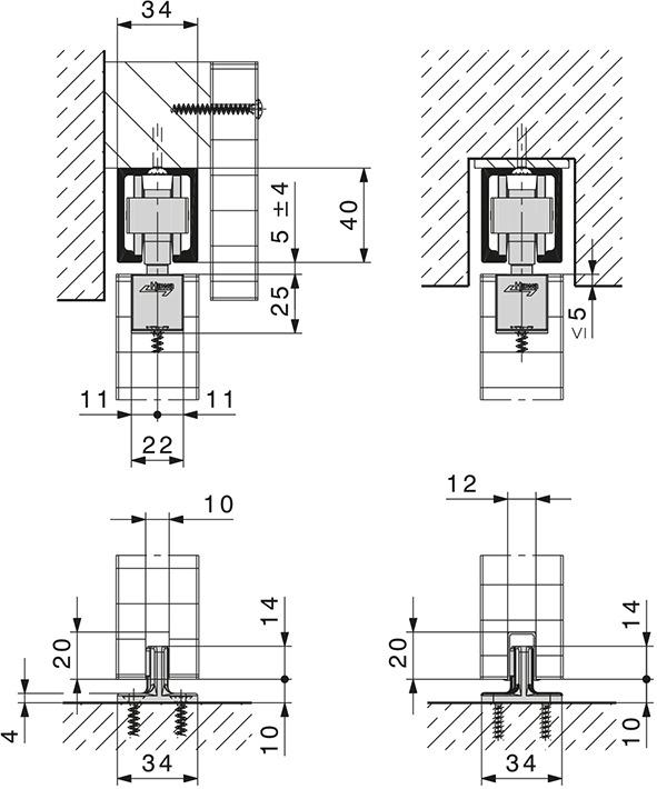 Schiebetürbeschläge HAWA-Junior 80/B (mod.)