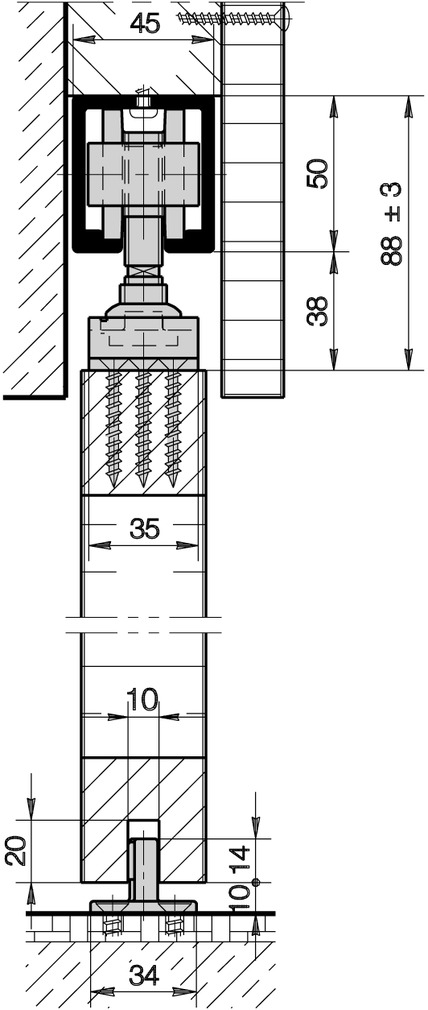 Ferrements pour portes coulissantes HAWA-Junior 120/A
