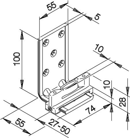 Guide du bas HAWA-Confort 120 pour portes coulissantes, simple