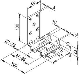 Guide du bas HAWA-Confort 120 pour portes coulissantes, double