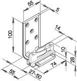 Guides du bas HAWA-Confort 160 pour portes coulissantes, simple