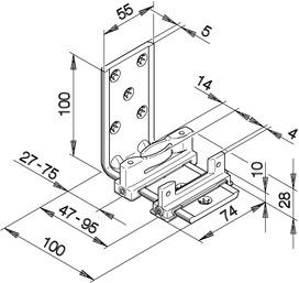 Guides du bas HAWA-Confort 160 pour portes coulissantes, double