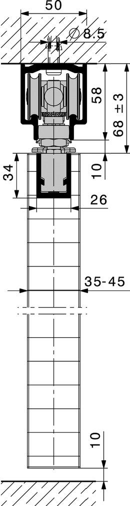 Kit di base HAWA-Centerfold 80/H con supporto rotante senza guida