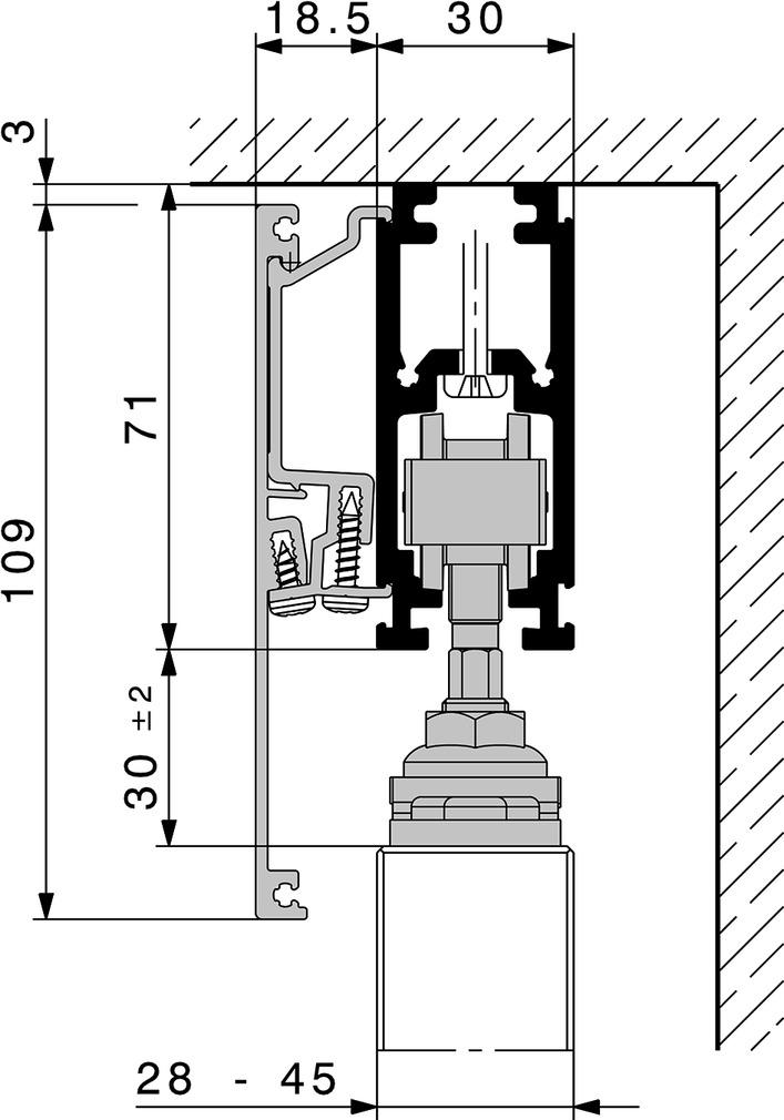 Schiebeladen-Beschlagsystem HAWA-Frontslide 60/A