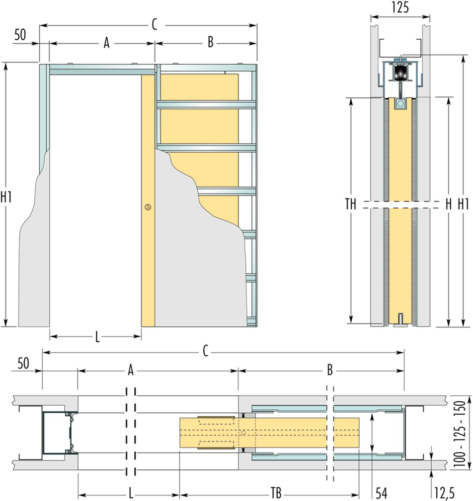 Einbauelemente ECLISSE SYNTESIS LINE EF für Schiebetüren Version