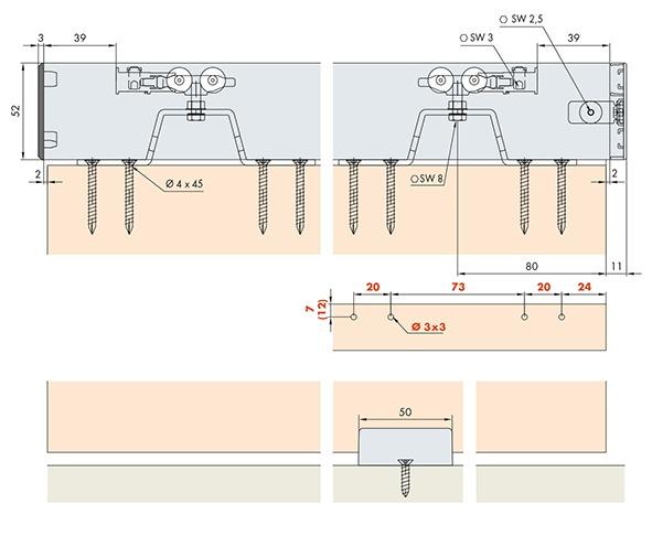Ferrements pour portes coulissantes EKU-PORTA 40 H