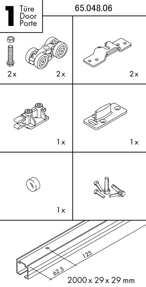 Kit completo ferramenta per ante scorrevoli EKU-PORTA 45 H