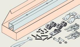 Set complet ferrements pour portes coulissantes EKU-PORTA 45 H