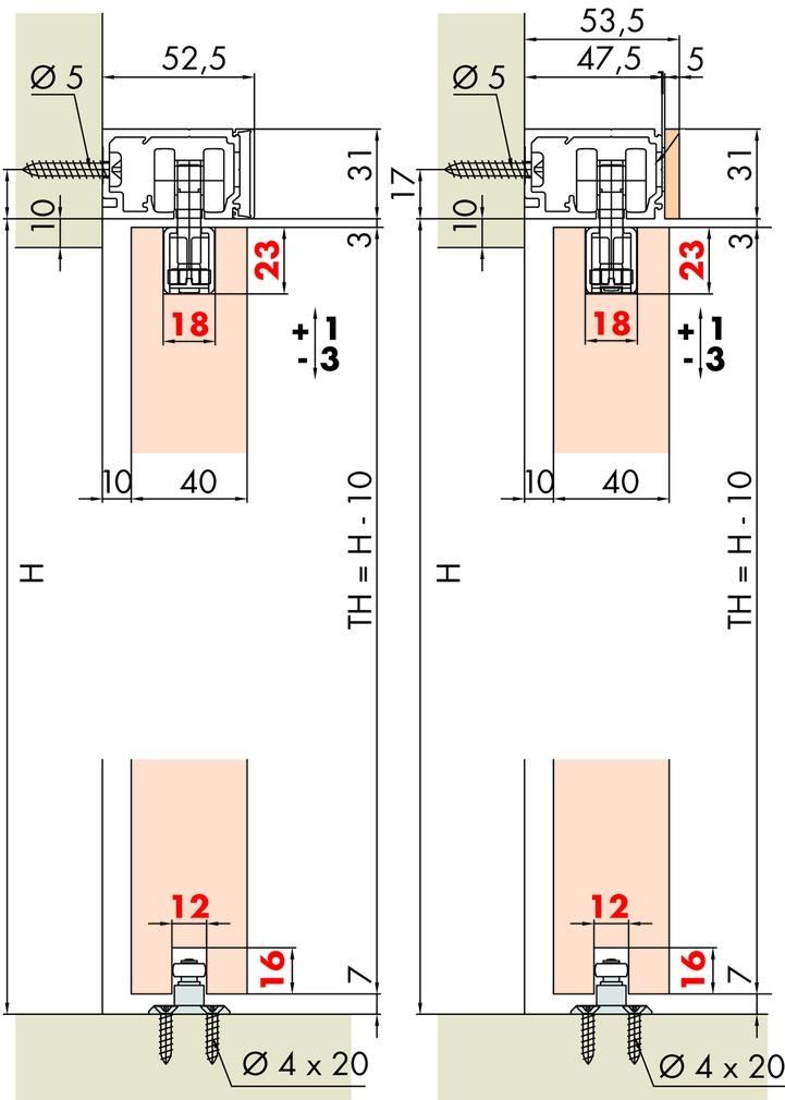 Ferramenta per ante scorrevoli EKU-PORTA 60/100 HM/HMD
