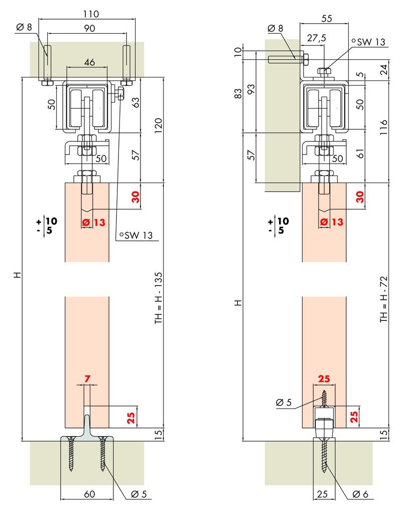 Ferrements pour portes coulissantes HAWA PORTA 600 H