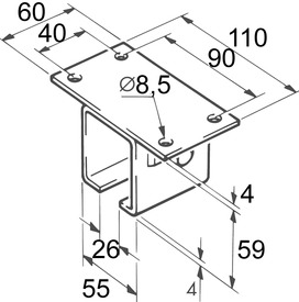 Supports pour fixation au plafond pour EKU-PORTA 600 H