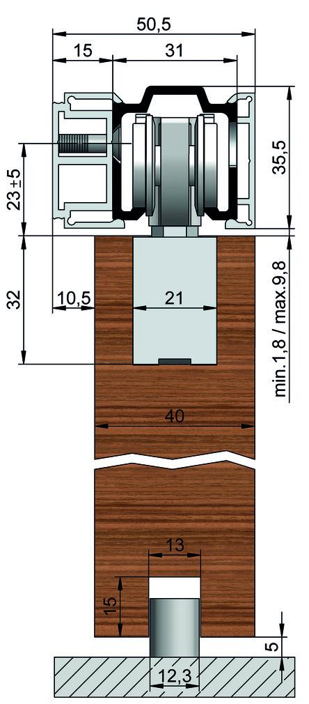 Schiebetürbeschläge HELM 73 ME-A, Holz