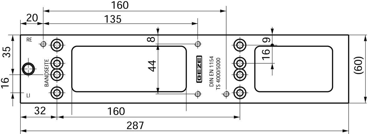 Plaque de montage pour GEZE TS 4000 / 5000