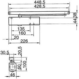 Chiudiporta GEZE TS 3000 V con guida di scorrimento e placche di montaggio