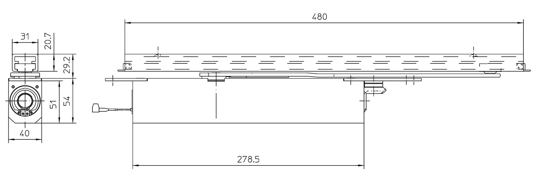 Ferme-porte à glissière invisible GEZE Boxer EFS