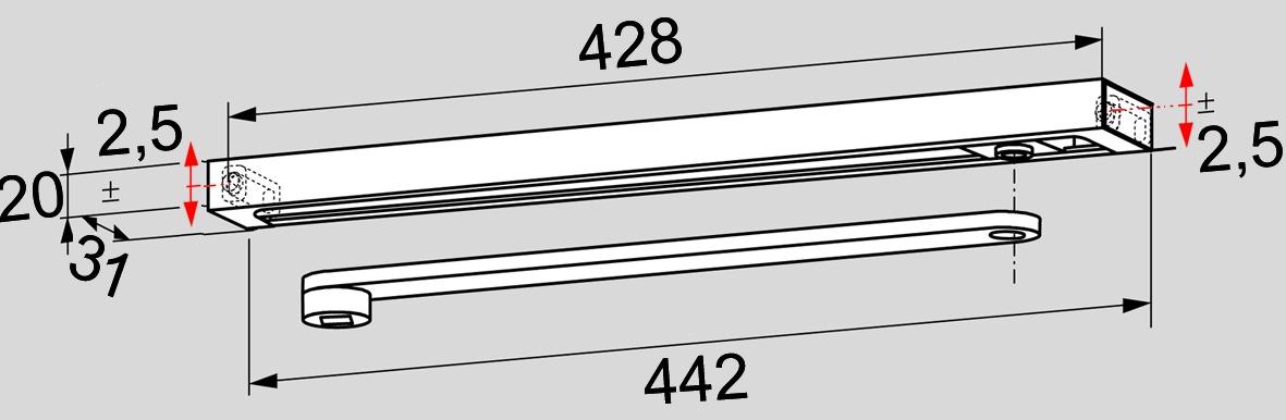 Glissière avec bras DORMA G-N design Contur