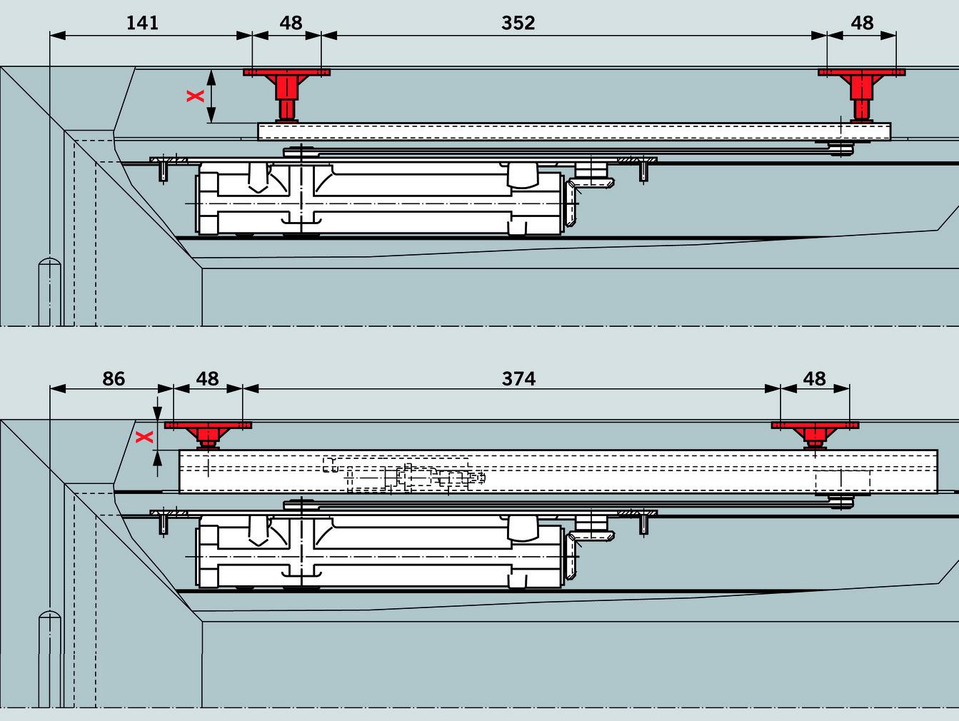 Elementi di fissaggio per la regolazione dell'altezza