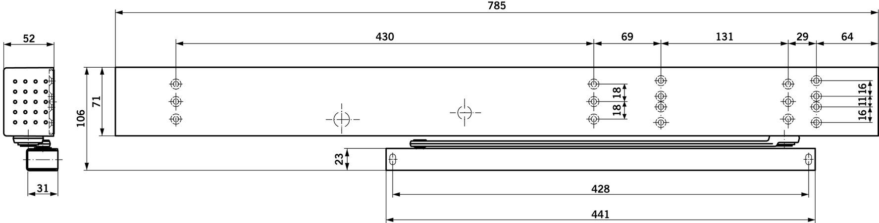 Ferme-porte débrayable DORMA TS 99 FLR / FLR-K design Contur