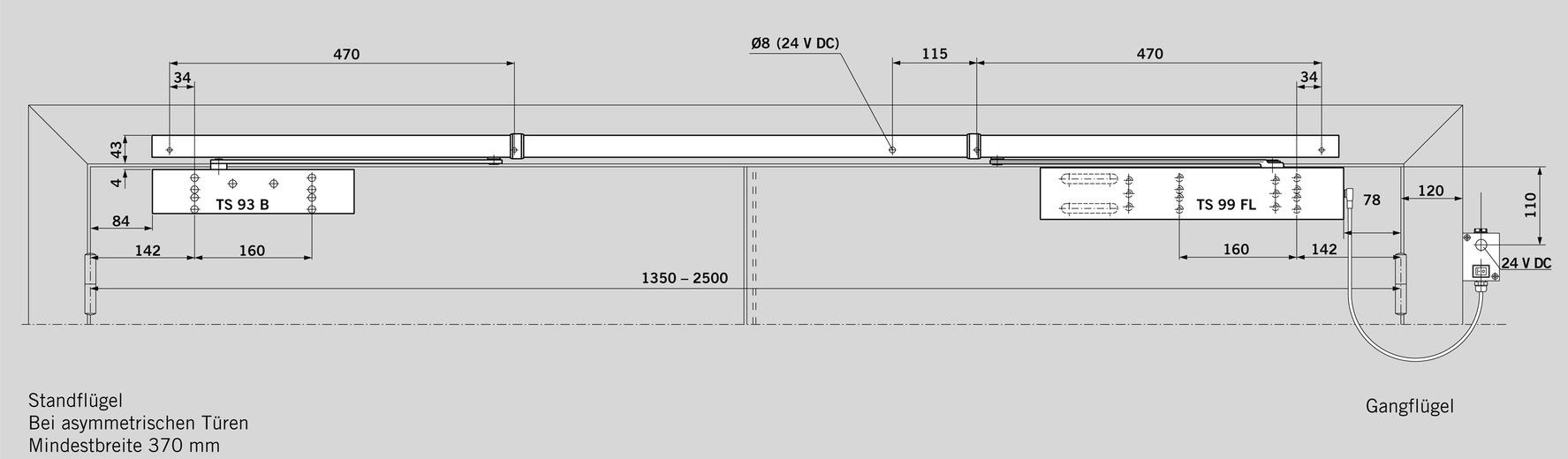 Ferme-porte débrayable DORMA TS 99 FL pourr GSR design Contur