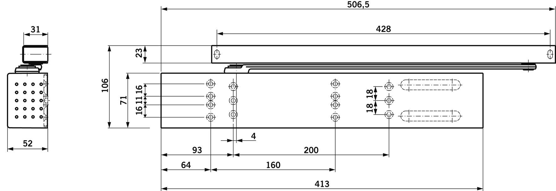 Ferme-porte débrayable DORMAKABA TS 99 FL pourr GSR design Contur