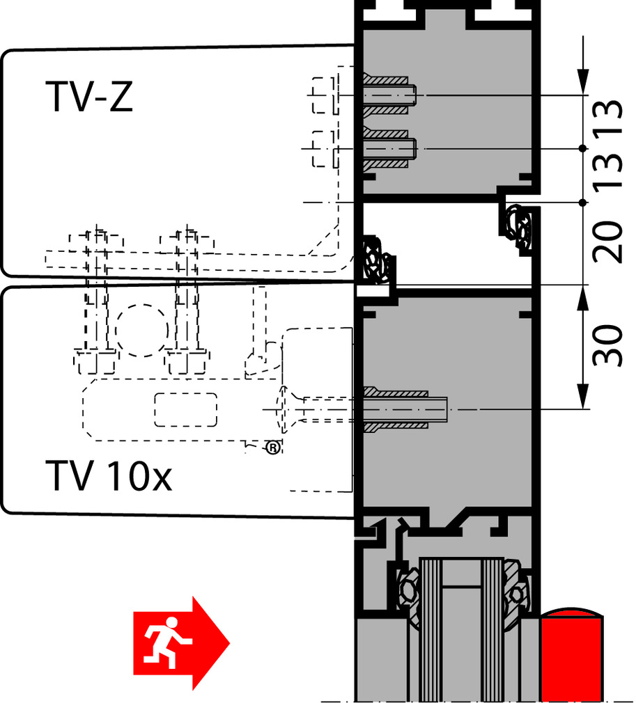 Verrouillage de porte DORMA TV 10x DCW