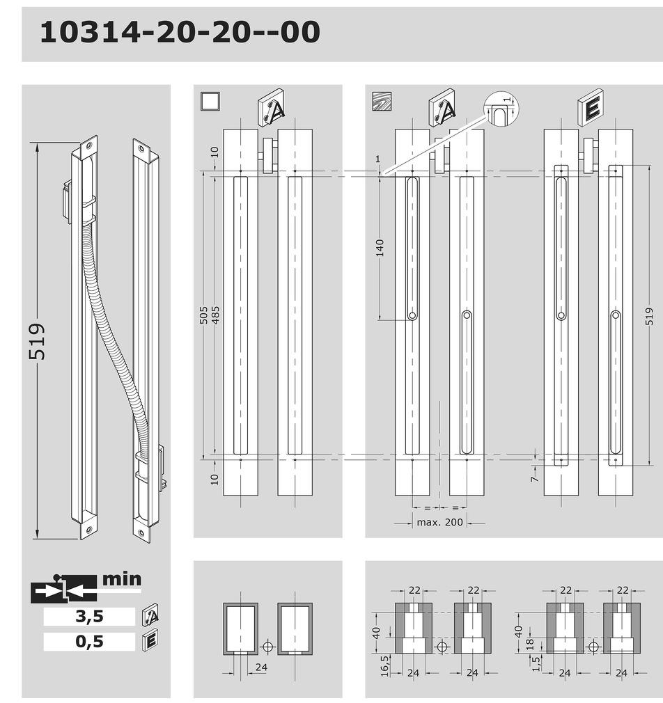 Trasmissioni cavi nascoste per porte EFF-EFF 10314-20-20