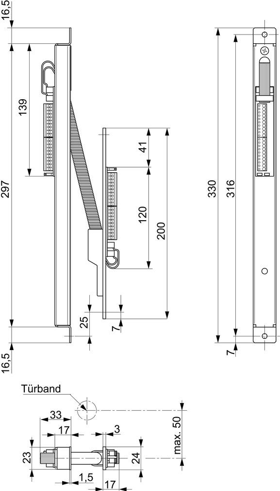 Trasmissioni cavi nascoste per porte MSL KÜ 10314-34-----00
