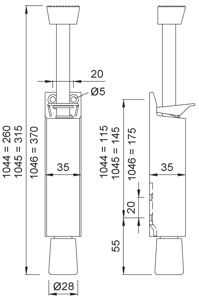 Türfeststeller KWS 1044/1045/1046