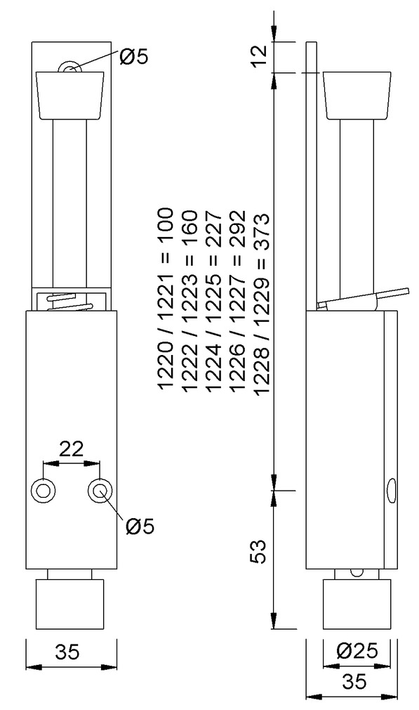 Arrêts de porte KWS 1220/1222/1224/1226/1228