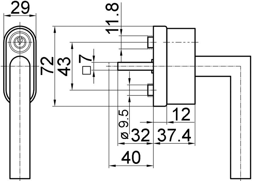 Abschliessbare Fenstergriffe GLUTZ 5071/5617 CF