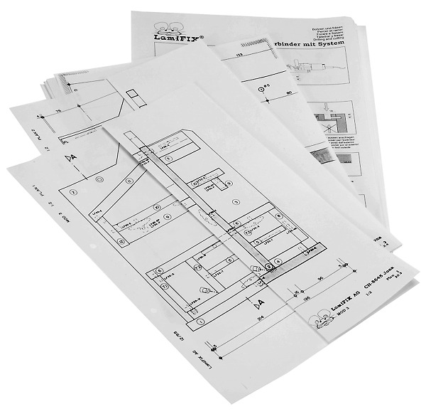 Croquis et listes pour matériaux LAMIFIX