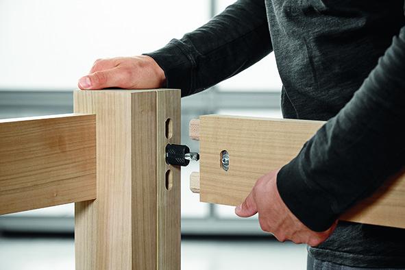 DOMINO système d'assemblage pour angles et surfaces - élément de fixation traversant