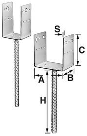 Pieds de poteau SIMPSON SST, type D