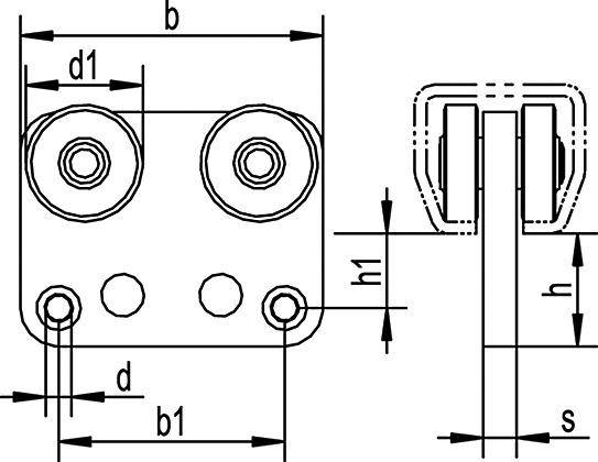 Vorhangzugwagen ohne Kugellager zu HELM-Vorhangsystem