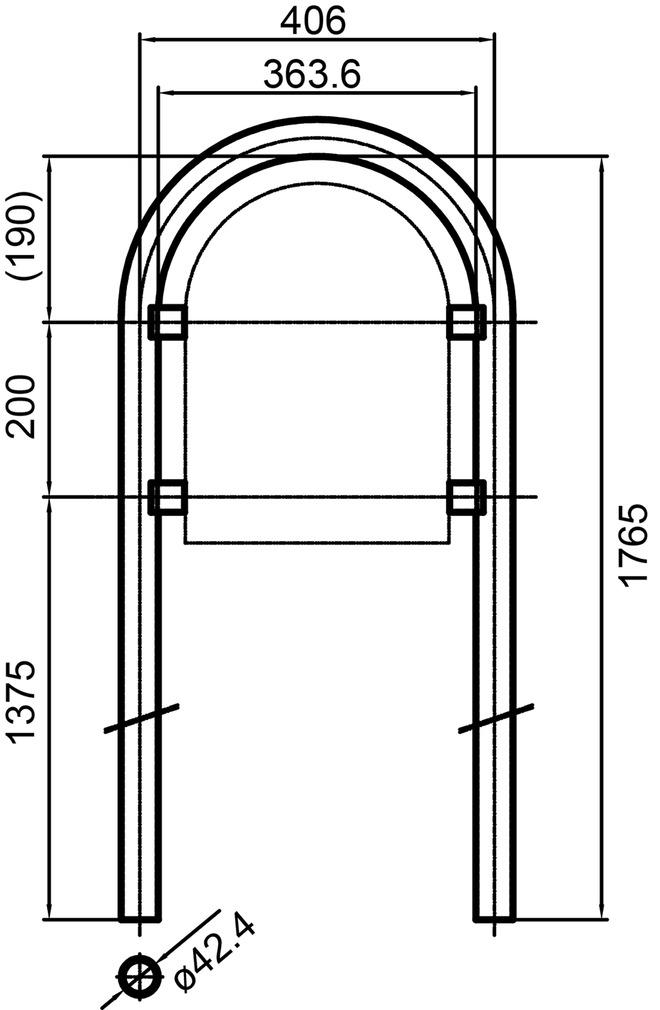 Rundrohrbügelstützen ø 42 mm HUBER