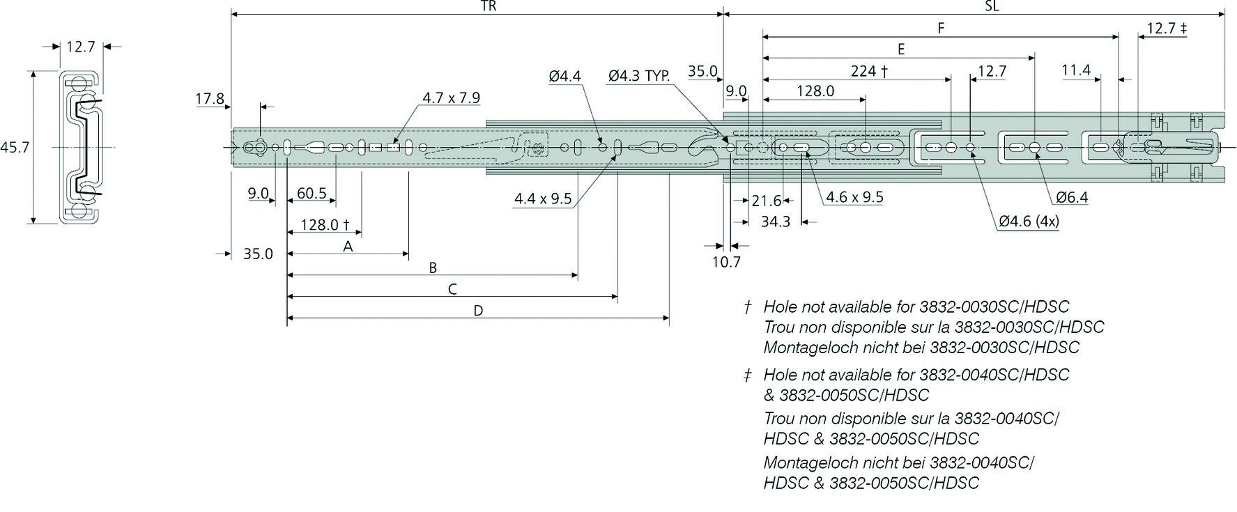 Kugel-Vollauszüge ACCURIDE DZ3832HDSC