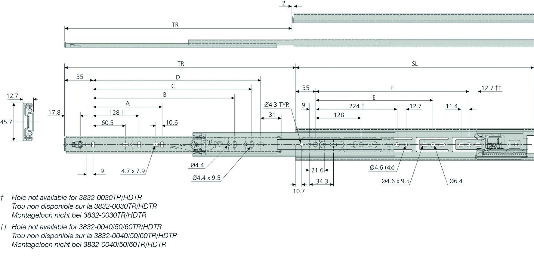 Kugel-Vollauszüge ACCURIDE DZ3832HDTR
