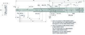Coulisses à billes à double extension ACCURIDE 3832SC avec retour automatique 14-27 N