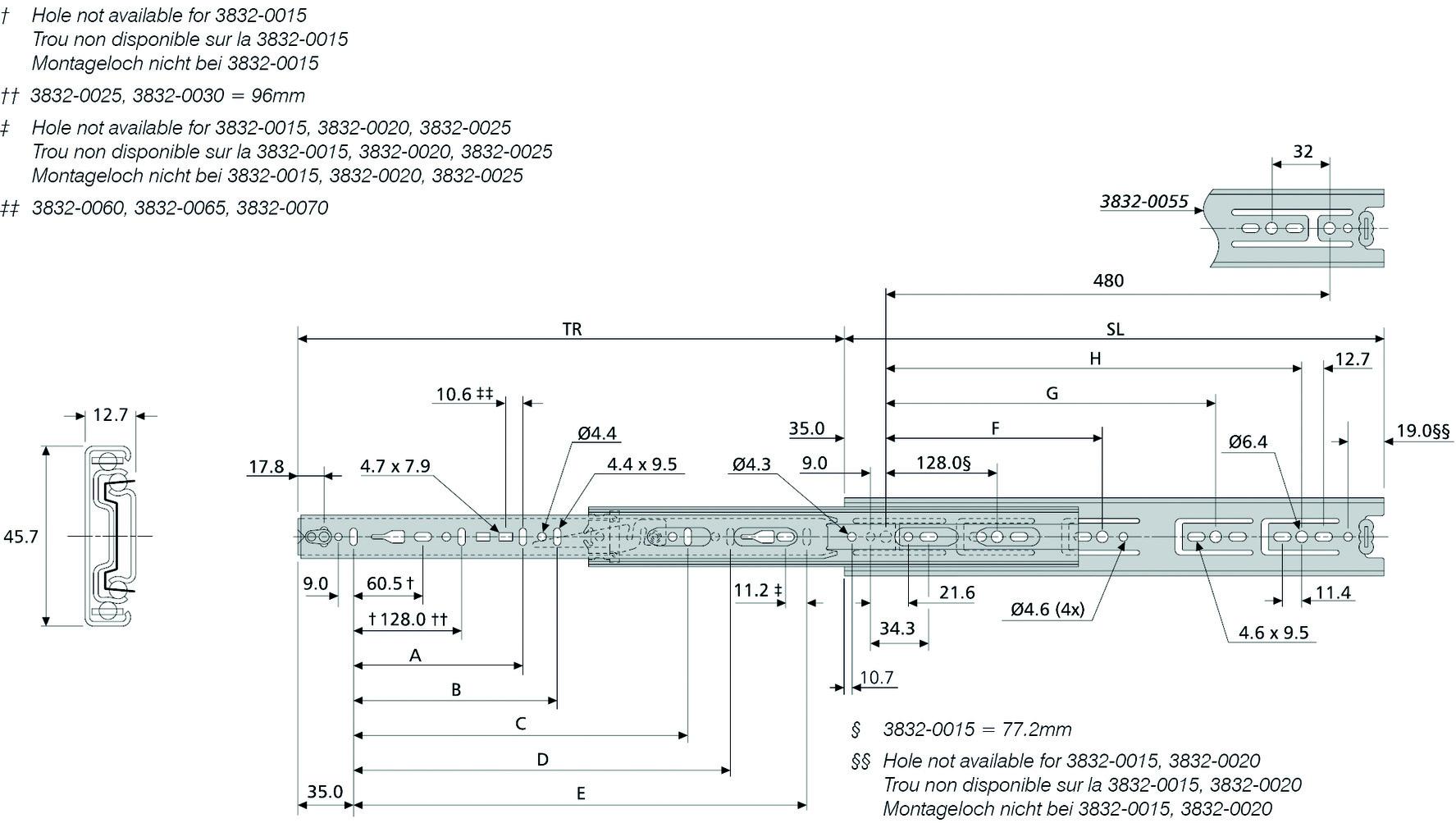 Kugel-Vollauszüge ACCURIDE DB3832