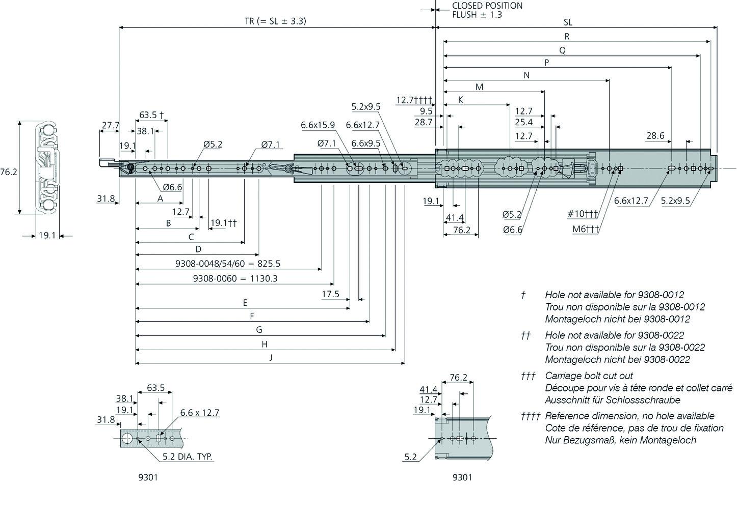 Coulisses à billes à double extension ACCURIDE 9308 avec verrouillage