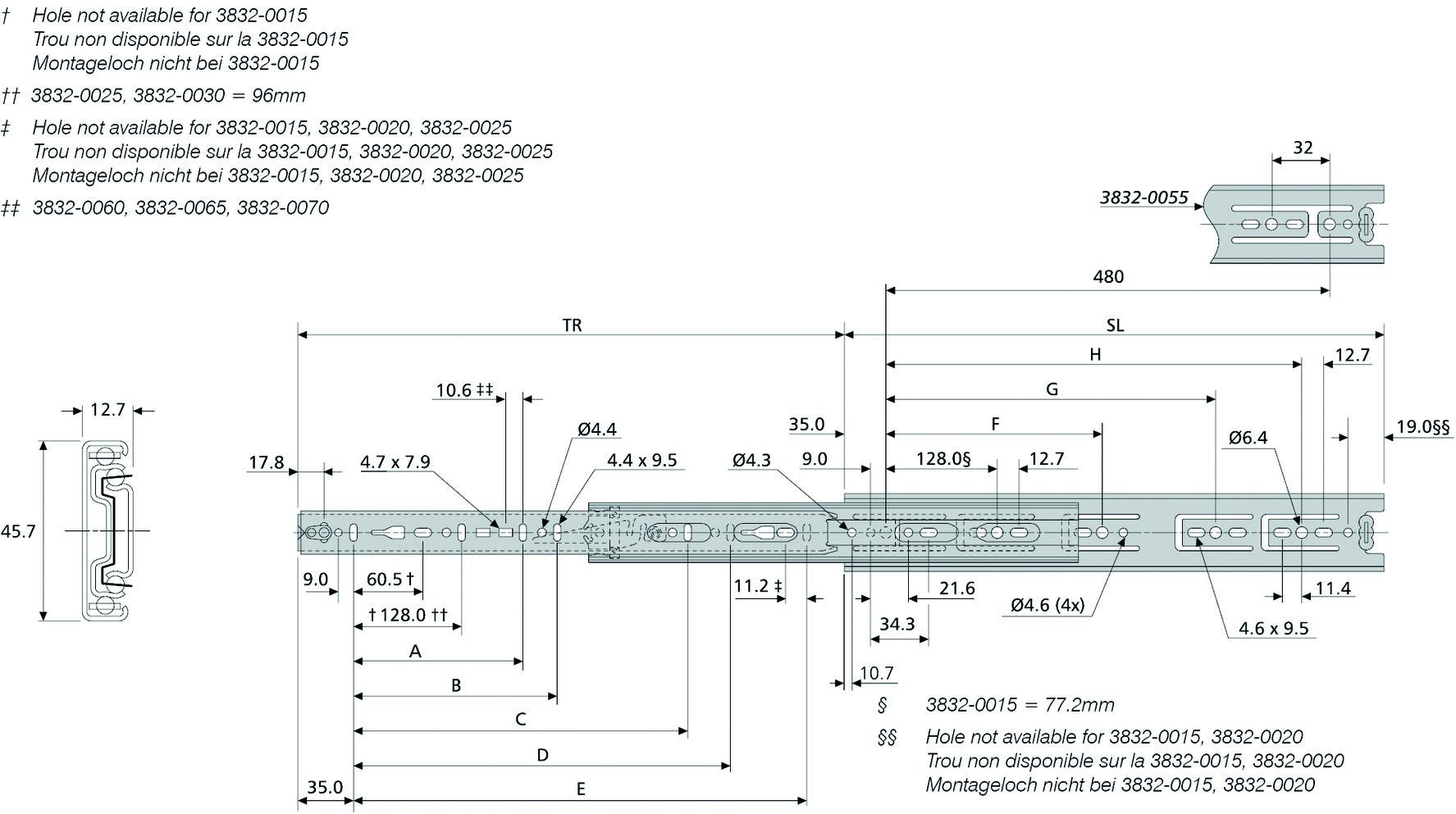 Guide a estrazione totale su sfere ACCURIDE DH3832