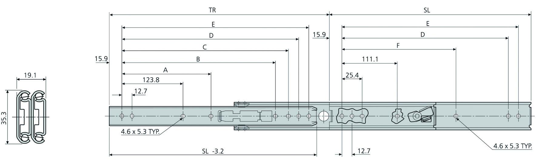 Guida a estrazione totale su sfere ACCURIDE DS0305